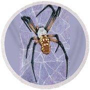 Female Orb Spider Round Beach Towel