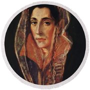 Female Portrait Round Beach Towel