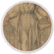 Female Saint (saint Clare Of Assisi Or Saint Catherine Of Siena?) Round Beach Towel