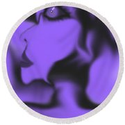 Female Space Face Round Beach Towel