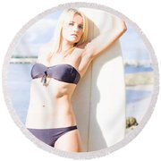Female Surfer In Sun With Surf Board Round Beach Towel