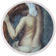 Femme A Sa Toilette Round Beach Towel by Edgar Degas