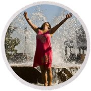 Femme Fountain Round Beach Towel by Al Powell Photography USA