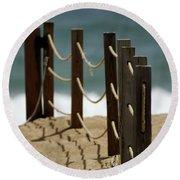 Fence Along The Beach Round Beach Towel