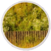 Fence And Hillside Of Wildflowers On Suomenlinna Island In Finland Round Beach Towel