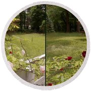 Fence Full Of Roses - Cross Your Eyes And Focus On The Middle Image Round Beach Towel
