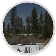 Fence In Snow Round Beach Towel