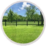 Fence Line  Round Beach Towel