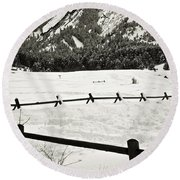 Fence Lines And Flatirons Round Beach Towel