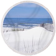 Fence On The Beach, Gulf Of Mexico, St Round Beach Towel