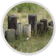 Fence Post All In A Row Round Beach Towel