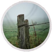 Fence Post And Fog Round Beach Towel