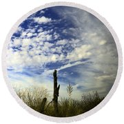 Fence Post And New Mexico Sky Round Beach Towel