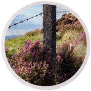 Fence Post In The Peak District Round Beach Towel