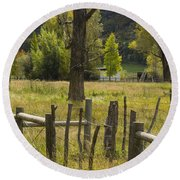 Fence Posts Round Beach Towel