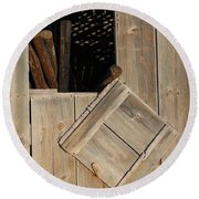 Fence Posts In Barn Round Beach Towel