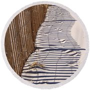 Fence Shadow Round Beach Towel