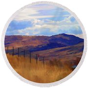 Fence Views Wyoming Color Round Beach Towel