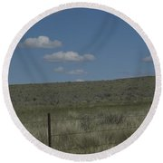 Fenced Clouds Round Beach Towel