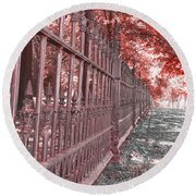 Fenced In Red Round Beach Towel
