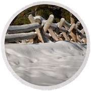 Fenced In White Round Beach Towel