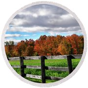 Fences, Fields And Foliage Round Beach Towel
