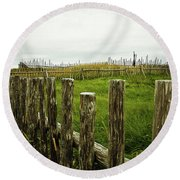 Fences In A Stormy Light Round Beach Towel