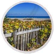 Fences On The Dunes Round Beach Towel