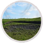 Fencing Along A Field Above The Cliff's Of Moher Round Beach Towel