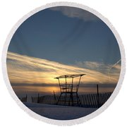 Fencing On Look Out 2 Round Beach Towel