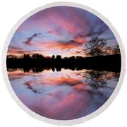Fencing Reflections Round Beach Towel