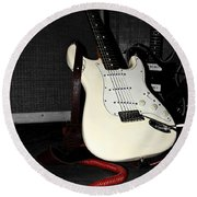 Fender Guitar And Amp In Selective Color Round Beach Towel