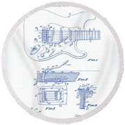 Fender Guitar Patent Drawing Round Beach Towel