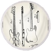Fender Precision Bass Patent 1952 Round Beach Towel