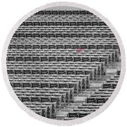 Fenway Park Red Chair Number 21 Bw Round Beach Towel