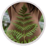 Fern And Woman Round Beach Towel