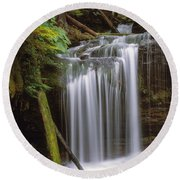 Fern Falls Round Beach Towel