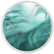 Fern Leaves Abstract. Nature In Alien Skin Round Beach Towel