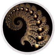 Fern-spiral-fern Round Beach Towel