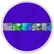 Fern Strip 5 Blue Green Round Beach Towel