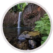 Ferns And Rocks By Abiqua Falls Round Beach Towel