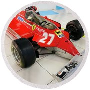 Ferrari 126ck Front Right Museo Ferrari Round Beach Towel