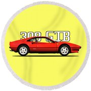 Ferrari 308 Gt Berlinetta Round Beach Towel