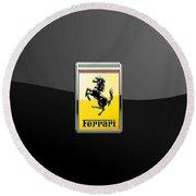 Ferrari 3d Badge- Hood Ornament On Black Round Beach Towel