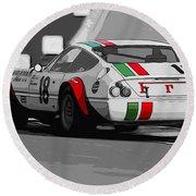 Ferrari Daytona 365 Gtb4 - Italian Flag Livery Round Beach Towel