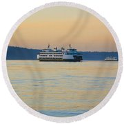 Ferries At Sunset Round Beach Towel