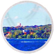 Ferries In The Harbor Round Beach Towel