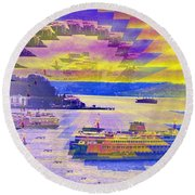Ferries Off Alki Round Beach Towel