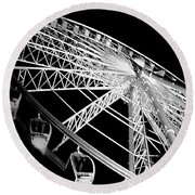 Ferris Wheel Against Black Sky Round Beach Towel