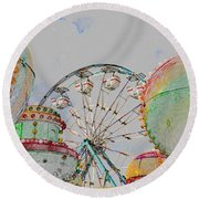 Ferris Wheel And Balloons Round Beach Towel